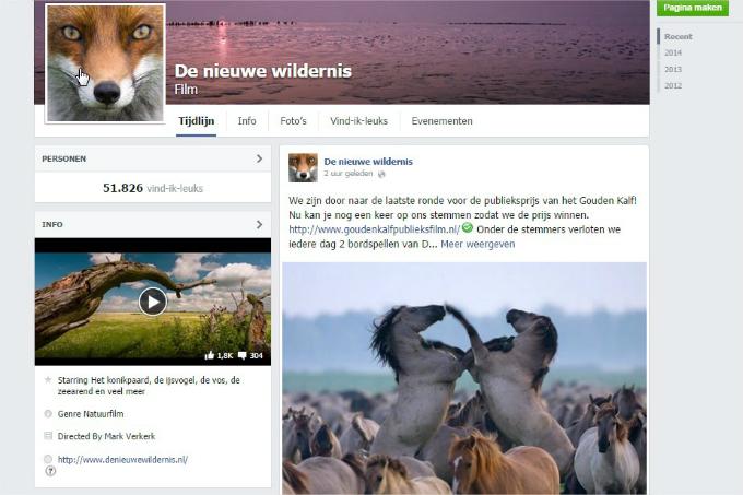 Facebookpagina De Nieuwe Wildernis