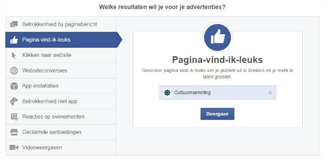 Doelen FB adverteren