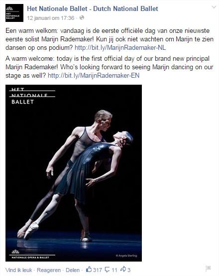 Facebookpost Het Nationale Ballet