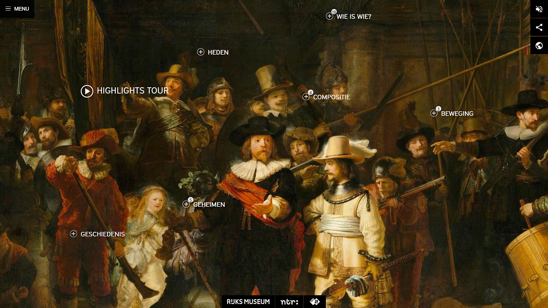 Website Beleef De Nachtwacht Rijksmuseum