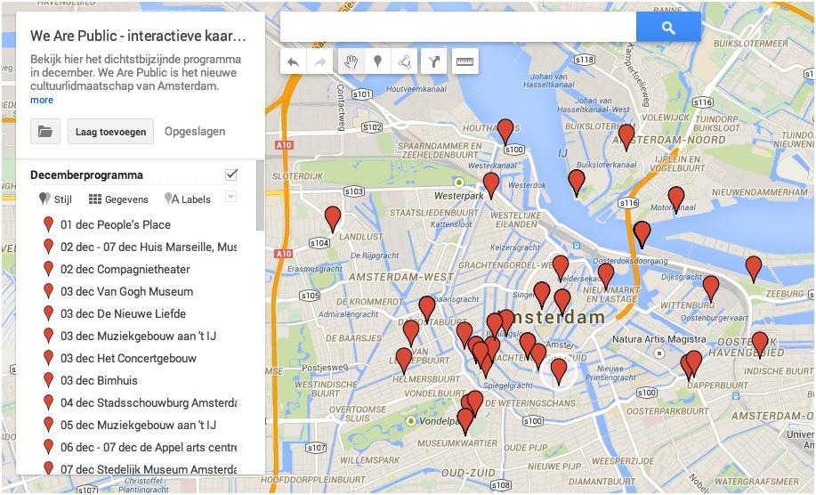 Interactieve kaart decemberprogramma We Are Public